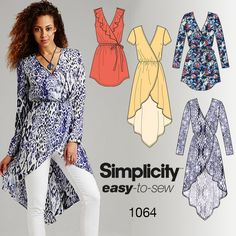 This versatile, easy-to-sew faux wrap tunic top pairs well with leggings for an easy on-trend look. Make it with a long sleeve, short sleeve or sleeveless with a front flounce. Sew your style with Simplicity pattern 1064.