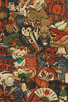 An information program on Japanese culture in preparation for the Tokyo 2020 Olympic Games. It explains Japanese culture intuitively in an easy-to-understand and highly visual manner using many detailed illustrations. Japan Illustration, Illustration Photo, Art Illustrations, Japanese Art Prints, Japanese Artwork, Japanese Pop Art, Japanese Patterns, Traditional Japanese, Anime Kunst