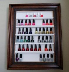 use a picture frame and add small pieces of wood from hobby lobby to create nail polish storage... this might be handy