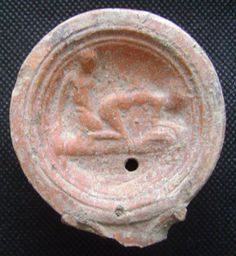 Ancient Roman Terracotta Oil Lamp with Erotic Scene