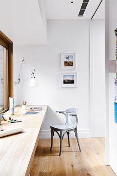 floating woodtop desk