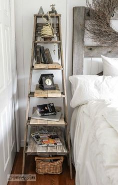 Wooden Ladders – wooden ladders are very versatile common items. You can do a number of things with a ladder…hang it from the ceiling to hang pots and pans, as a magazine holder, and my personal favorite as a towel holder in your bathroom.