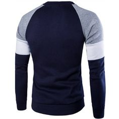 Mens Fashion Casual British Style Sweater Spell Color Stitching Button Raglan Sleeve T-shirt at Banggood