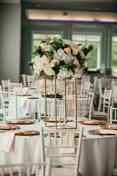 Wedding centerpiece ideas - roses, flowers, white, pink, greenery, gold, modern, classic {Erin}