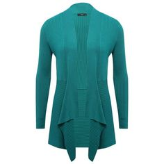 M&Co Ribbed Waterfall Cardigan ($32) ❤ liked on Polyvore featuring tops, cardigans, teal, ribbed top, drapey cardigan, blue cardigan, long sleeve tops and teal cardigan