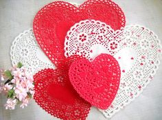 Darling Lot of Vintage Paper Heart Doilies