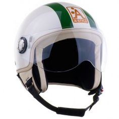 Casque scooter A-style Demi-jet Blanc kaki brillant