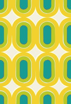 70s Mod Geometric Yellow Turquoise Lime pattern