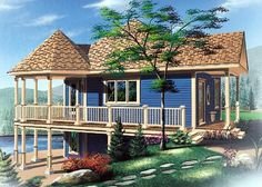House Plan 65263   Bungalow Cabin Coastal Country Hillside Vacation Victorian Plan with 840 Sq. Ft., 1 Bedrooms, 1 Bathrooms at family home plans