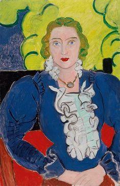 Nei suoi quadri Henri Matisse ricercava incessantemente l'armonia. Nel nostro dipinto la raggiunge tramite la bilanciata disposizione dei colori primari blu, giallo e rosso, con il complemento di bianco e nero. Le linee rette e le forme curve e ritmate sono presenti allo stesso modo. L'assistente di Henri Matisse, la giovane emigrante russa Lydia Delectorskaya, fece da modello per la donna in una camicia blu.