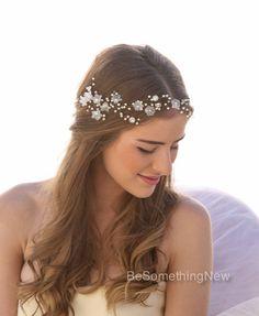 Wedding Hair Vine of Vintage Flowers Pearls and by BeSomethingNew