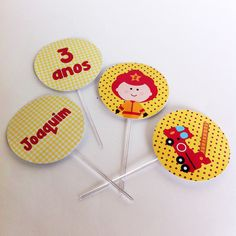 Tags de cupcakes Bombeiro | Design Festeiro