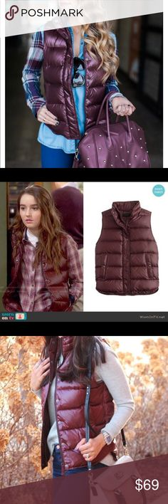 J. Crew shiny maroon mountain puffer vest down NWT J. Crew Shiny down puffy vest.  Beautiful rich oxblood color.  J. Crew sizing runs large IMO so this is a bigger medium. Let me know if you need specific measurements.   Exact same style as pictured in blog cover photo from The Fashion Hour.   So many fun and cute ways to style this toasty vest! J. Crew Jackets & Coats Vests