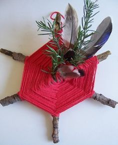 """Rosemary Woven Branches - Take a nature hike and add items collected to a """"natural"""" God's eye Kindergarten Christmas Crafts, Christmas Activities For Kids, Holiday Crafts For Kids, Crafts For Kids To Make, Art For Kids, Christmas Holidays, Kid Art, Christmas Things, Country Christmas"""