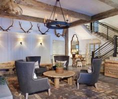 Wrought Iron Harvard Chandelier in a Rustic Contemporary Space