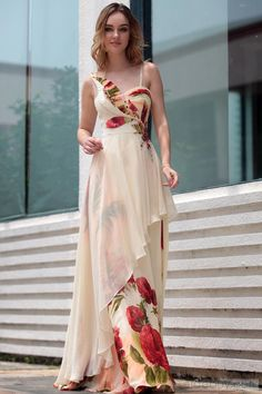 Kingmalls Womens asymmetric off shoulder printed with leaves liked applique summer evening Gowns Celebrity Party Dresses - [UK & Ireland Only]: Price: Party Dresses Uk, Evening Dresses Uk, Occasion Dresses, Prom Dresses, Summer Dresses, Formal Dresses For Weddings, Elegant Dresses, Beautiful Dresses, Applique Dress