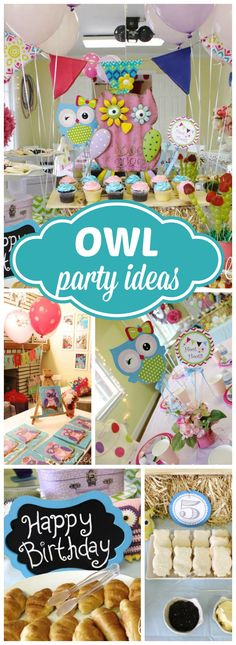 Here's a lovely, whimsical owl themed girl birthday party! See more party ideas at CatchMyParty.com!
