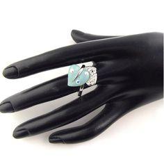 3pcs,lot fashion ladies jewelry green charm leaf shaped alloy rings RN-411