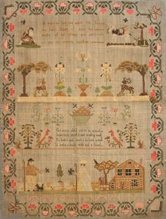 early 19th Century needlework sampler, worked by 'Dorothy Ash',