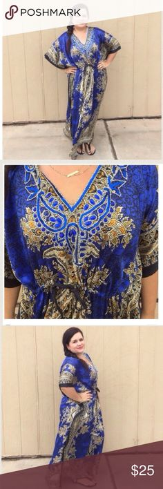 🆕LISTING Exotic Blue Jeweled Kaftan The details in this piece is absolutely beautiful. Has a drawstring around the middle for fitting perfectly. As a silklike feel to it. 54 inches long, 36 inches PTP. 100% poly. Where was some jeweled sandals. Model says will fit up to 3X. Boutique Dresses Maxi