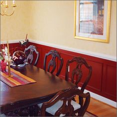 my choice for our dining room colors the walls are already that bottom color and weve got an awesome rug with that red color in it - Dining Room Red Paint Ideas