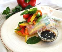 Veggie and White Bean Rice Rolls with Sweet Mango & Warming Ginger [Inspired Edibles]