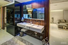 CasaMare from Architect Alberto Estaban featuring our Uplift Cabinets for the perfect mirror and medicine cabinet combo.