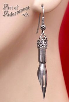 awesome Argenta Steampunk Pen Nib Earrings by ArtOfAdornment. Components: steel calligra... by http://www.polyvorebydana.us/steampunk-fashio/argenta-steampunk-pen-nib-earrings-by-artofadornment-components-steel-calligra/