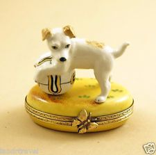 NEW FRENCH LIMOGES BOX CUTE JACK RUSSELL TERRIER DOG PUPPY WITH BALL