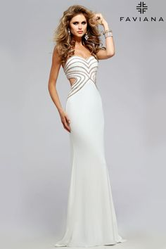 Jersey sweetheart with rhinestone details #Faviana Style S7701 #PromDresses