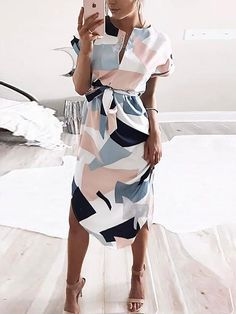 Geo Print Tie Waist Curved Hem Casual Dress