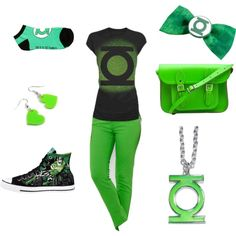 Green Lantern by itz-beckz on Polyvore featuring Lauren Ralph Lauren, The Cambridge Satchel Company and Plastic Bat