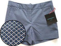 Cynthia Rowley Printed Shorts Sz 0 Quatrefoil Geometric Blue #CynthiaRowley #CasualShorts