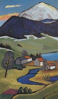 March Landscape III (Landscape with Einödshof) by Gabriele Münter Wassily Kandinsky, Abstract Landscape, Landscape Paintings, Modern Art, Contemporary Art, Impressionism Art, Female Art, Art Images, Art Lessons