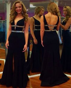 2016 Sexy V Neck Black Chiffon Evening Dresses Sexy Mermaid Party Dress Robe De Soiree Formal Gowns,PD160347