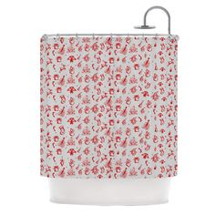 "Snap Studio ""Miniature Christmas Red"" Gray Shower Curtain"