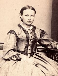 1860s Woman Seated Fine Hoop Dress Holding a Booklet CDV