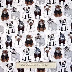 Pet Fabric - Hipster Dogs Mustache Monocle White - Timeless Treasures YARD  #TimelessTreasuresFabric