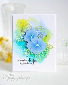 Velvet Blossom die, Small Posh Outline die: Poppy Stamps, white gel pn, watercolor, Kay Miller