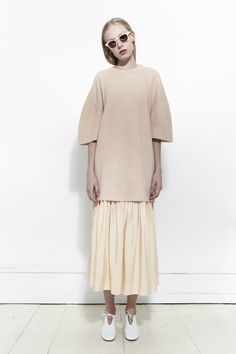 RYAN ROCHE, Cashmere Short Sleeve Pullover, Nude |