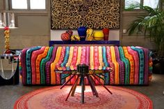 Living Room , Modern Retro Living Room Furniture Giving You  A Chic Welcoming Space : Awesome Colorful Sofa For Chic Retro Living Room Decor