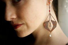 Tuts Treasure Earrings - Earthy Egyptian inspired geometric long dangles in copper