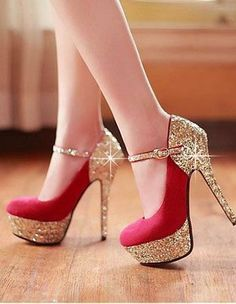 Brilliant Round Closed Toe Platform Flattery Red Stilettos High Heels Suede Mary Jane Pumps I love these shoes! Red High Heels, Platform High Heels, High Heels Stilettos, Stiletto Heels, Shoes Heels, Gold Heels, Sparkly Heels, Louboutin Shoes, Sexy Heels