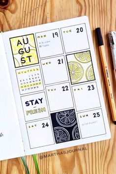 Adorable Yellow Weekly Spread Ideas For Bujo Addicts - Crazy Laura If you're starting to plan out a new theme in your bullet journal, then you need to check out these super cute yellow weekly spreads for inspiration! Bullet Journal Lettering Ideas, Bullet Journal Banner, Bullet Journal Notebook, Bullet Journal School, Bullet Journal Inspo, Bullet Journal Spread, Bullet Journal Ideas Pages, Journal Pages, Bullet Journals