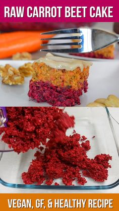 Raw Carrot Beetroot Cake with Cashew Frosting Recipe is part of Raw dessert recipes - Healthy carrot and beetroot raw cake with cashew cream frosting that is no bake and foolproof to make Suitable for raw vegan, glutenfree, paleo, whole 30 Bolo Vegan, Raw Vegan Cake, Raw Vegan Desserts, Raw Cake, Raw Vegan Recipes, Vegan Dessert Recipes, Easy Healthy Recipes, Healthy Snacks, Cooking Recipes