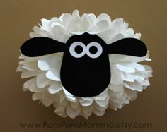 Shaun the Sheep Inspired Character Pom by PomPomMomma on Etsy Party Animals, Animal Party, Barnyard Party, Farm Party, Farm Birthday, 2nd Birthday Parties, Easter Crafts, Crafts For Kids, Sheep Cake