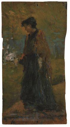 Angelo Dall'Oca, Donna in attesa. #pittura #collezioneBPM