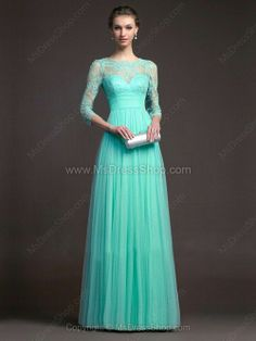 Elegant Green Lace Floor-length Prom Dress, Party Dress, Formal Dress from Prom Dress 2014 Long Sleeve Evening Gowns, Evening Dresses With Sleeves, Prom Dress 2014, Prom Party Dresses, Dresses 2014, Prom Gowns, Dresses Online, Holiday Dresses, Homecoming Dresses