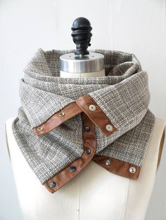Cream and charcoal  circular infinity scarf by RunSystem63 on Etsy, $65.00