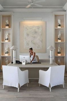 Home Office Design Ideas, Chic Home Office, Skirted Chair, Home Office Decor, Home Office for Women Home Office Inspiration, Interior Design Inspiration, Style Inspiration, Style Ideas, Home Office Space, Home Office Decor, Modern Office Decor, Home Office Furniture Ideas, Office Spaces